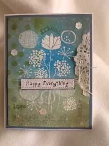 A card that fits any occasion using a Hero  Arts stamp that is embossed with an inked background.