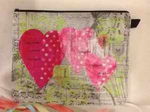 A decorated pouch that is covered with Tim Holtz special tissue paper.