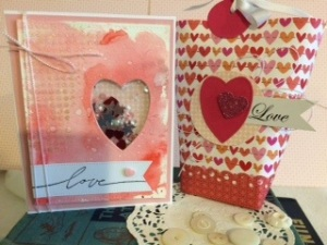 A shaker card and gift page with coordinating paper.